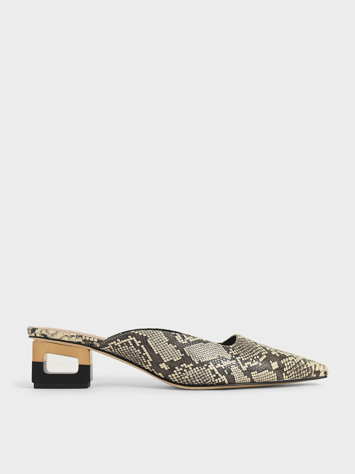 Snake Print Sculptural Chrome Heel Mules, Multi, hi-res