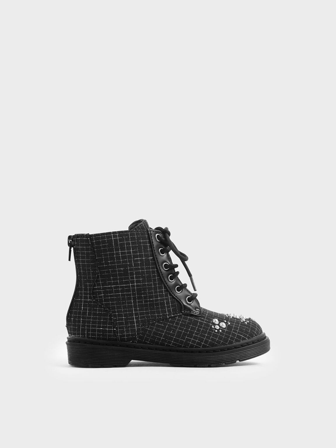 Girls' Windowpane Print Embellished Lace-up Boots, Multi, hi-res