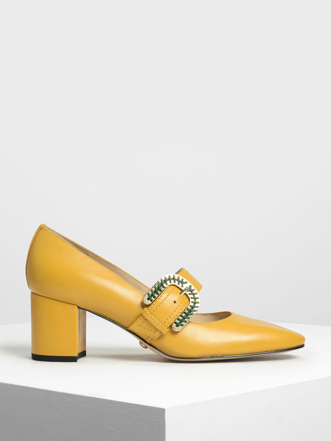 Leather Stitch Detail Buckle Mary Jane Heels, Yellow, hi-res