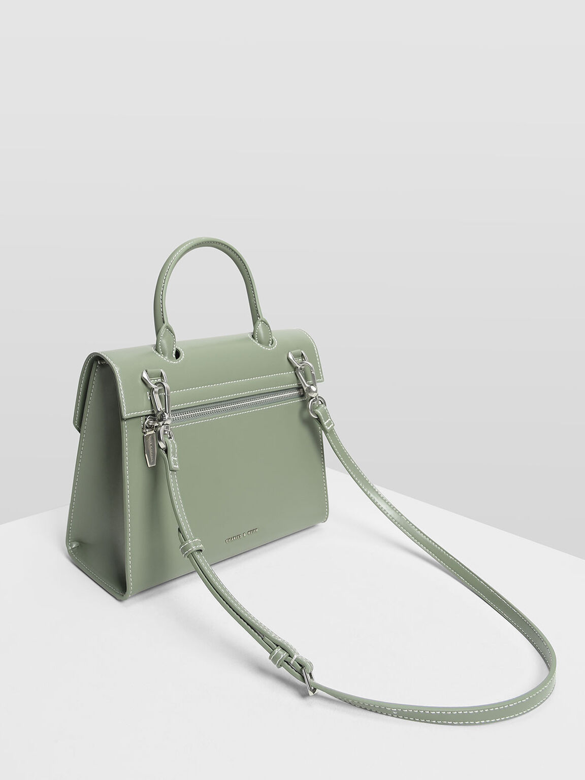 Stone Detail Push Lock Bag, Sage Green, hi-res