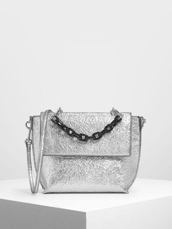 單鍊條手提包, 銀色, hi-res