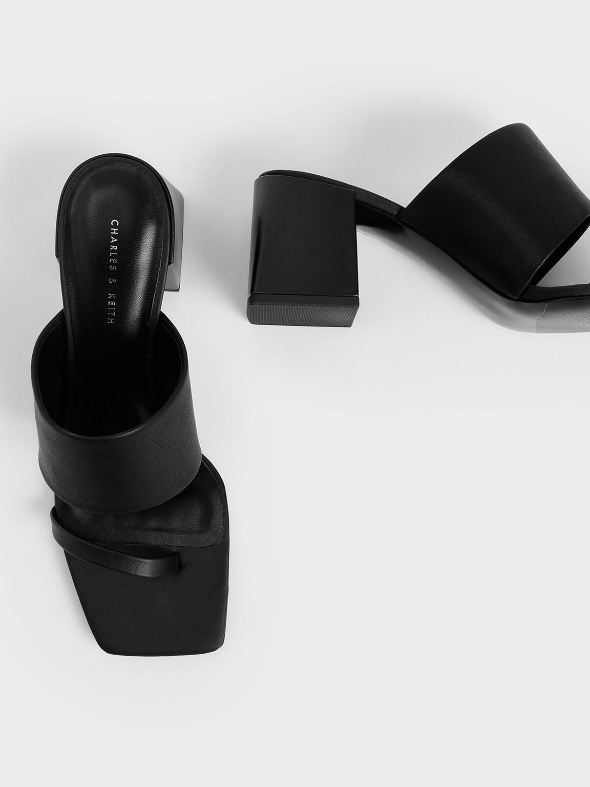 Block Heel Mules, Black, hi-res