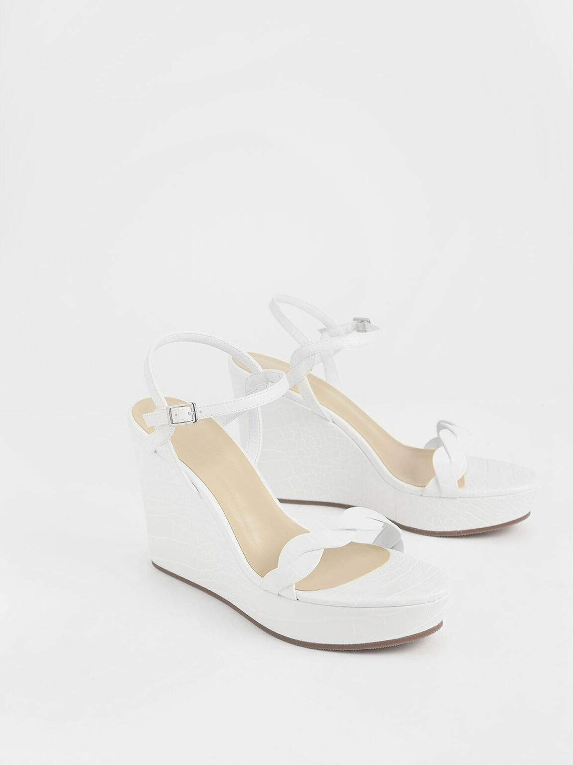 Croc-Effect Twist Strap Platform Wedges, White, hi-res