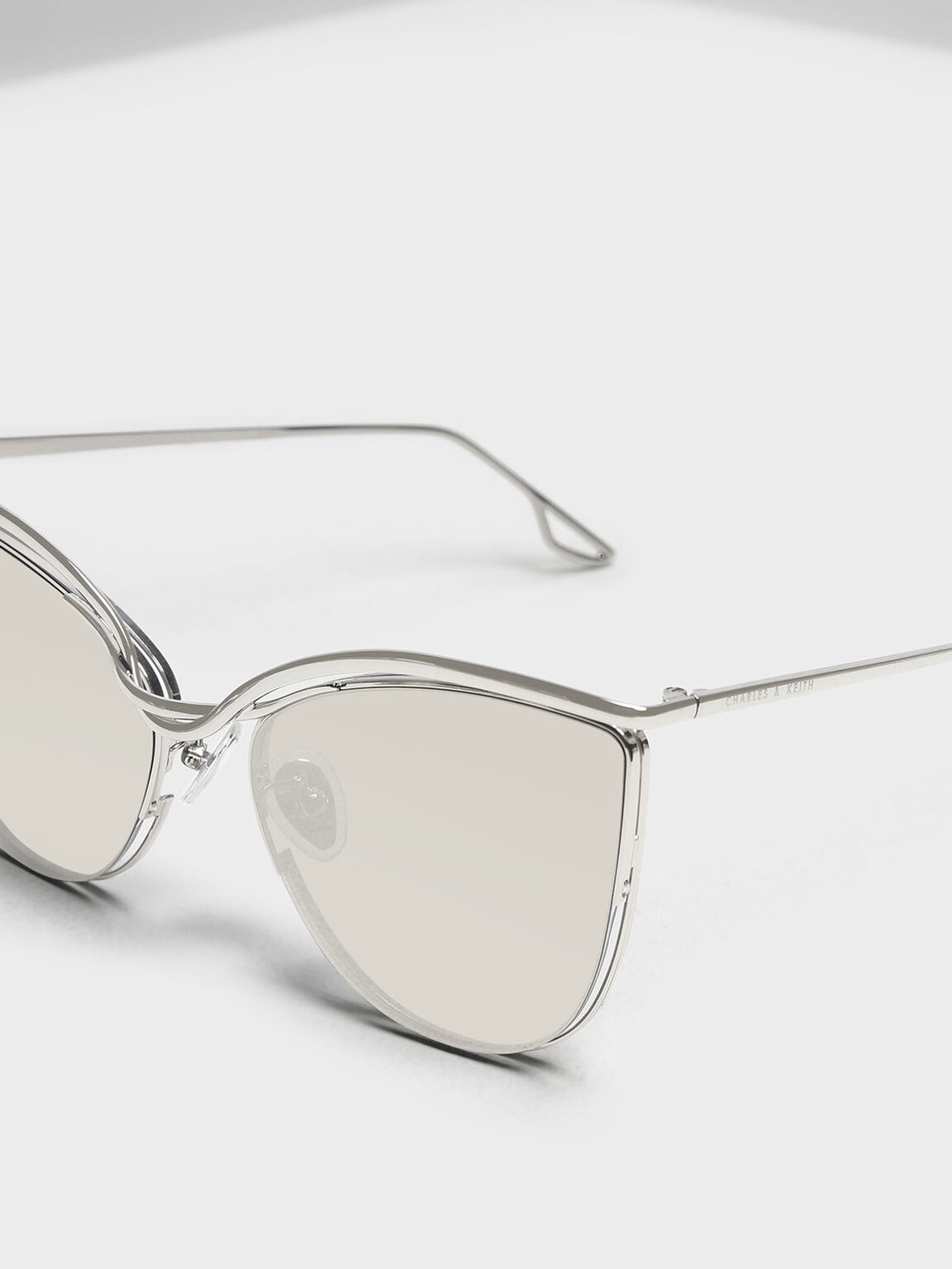 Wire Frame Cat Eye Shades, Silver, hi-res