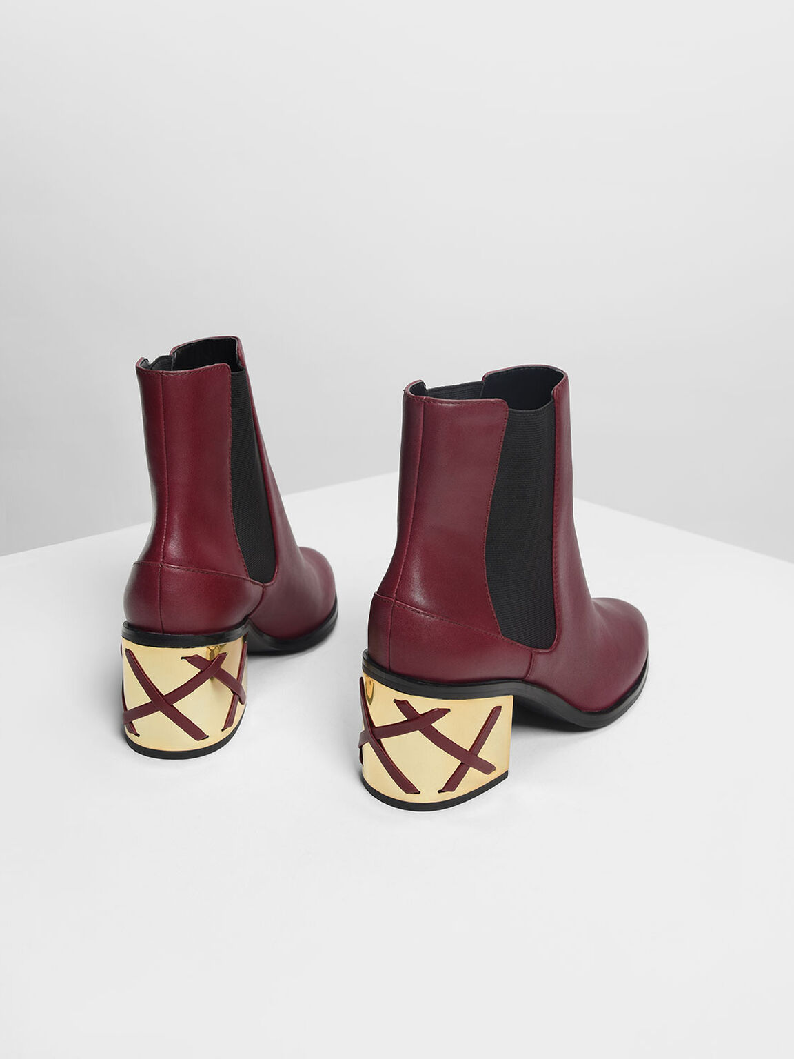 Weave Detail Chrome Heel Leather Boots, Burgundy, hi-res