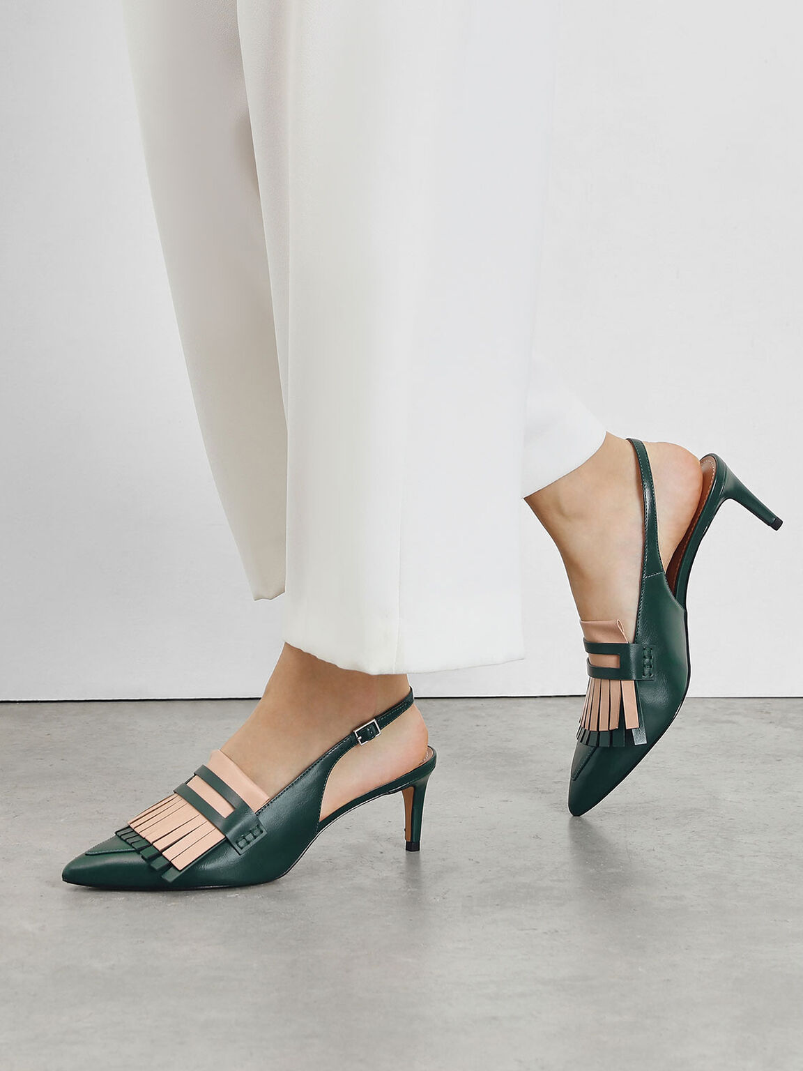 Frill Trim Slingback Pumps, Dark Green, hi-res