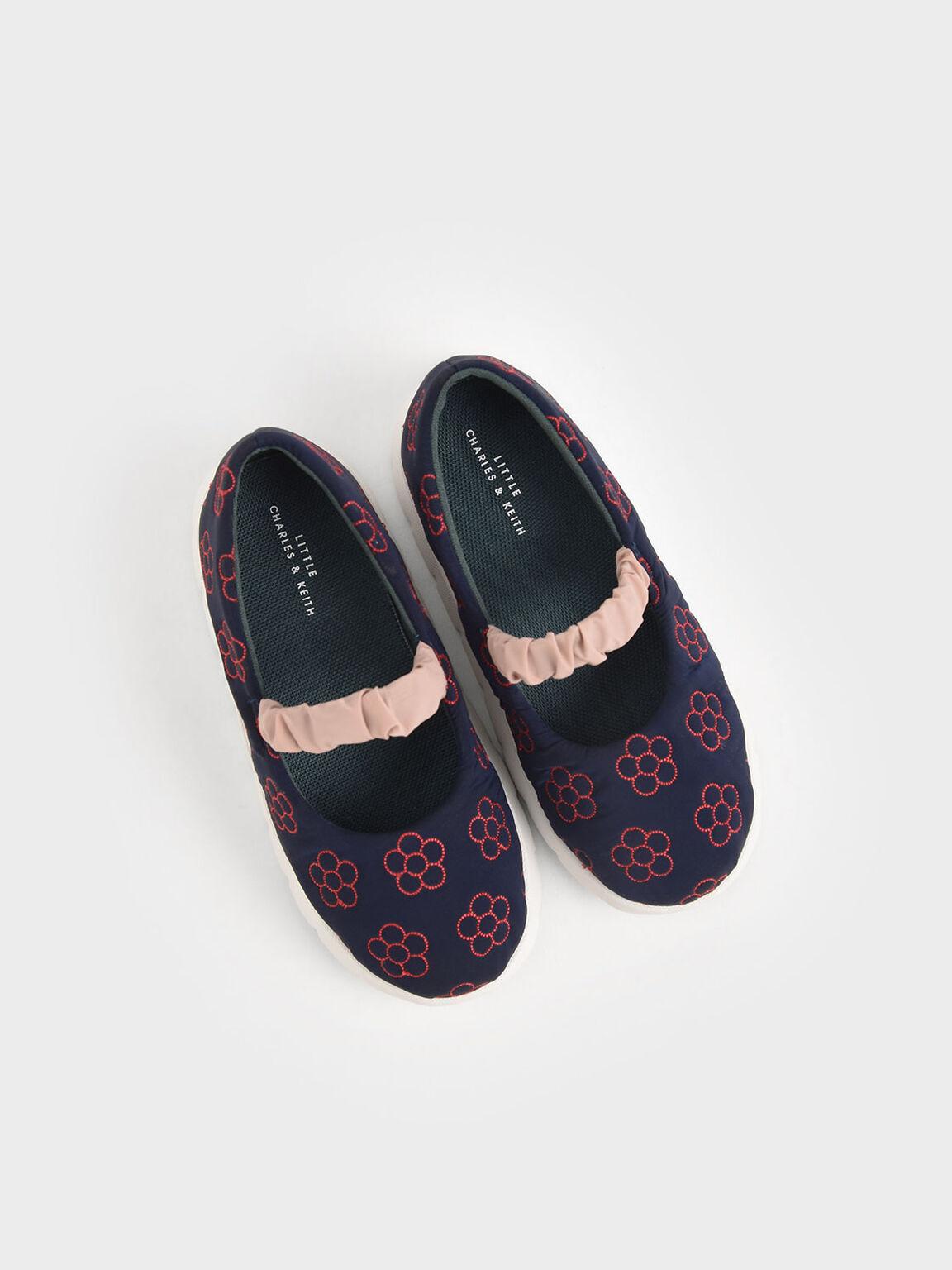 Girls' Printed Ruched Strap Slip-On Sneakers, Dark Blue, hi-res