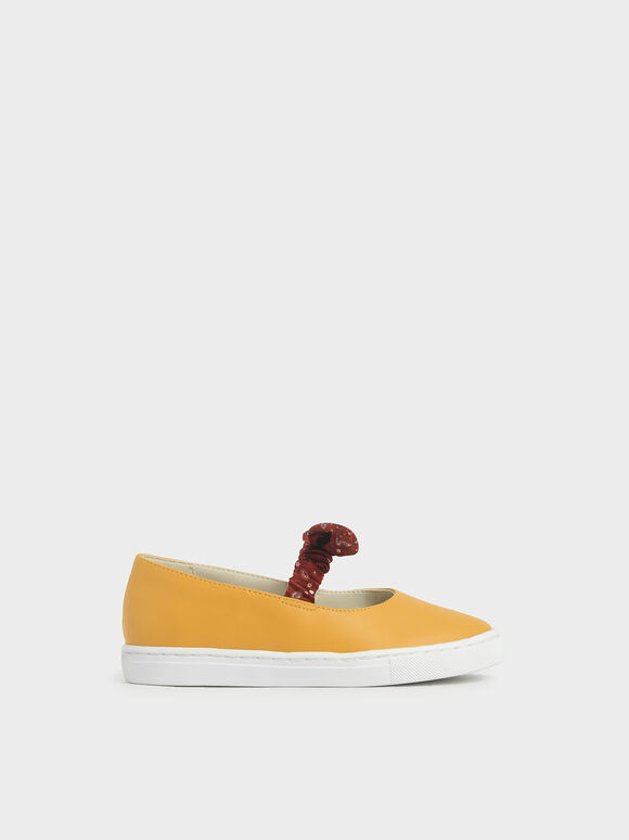 Purpose Collection - Girls' Bandana Print Slip-On Sneakers, Yellow, hi-res