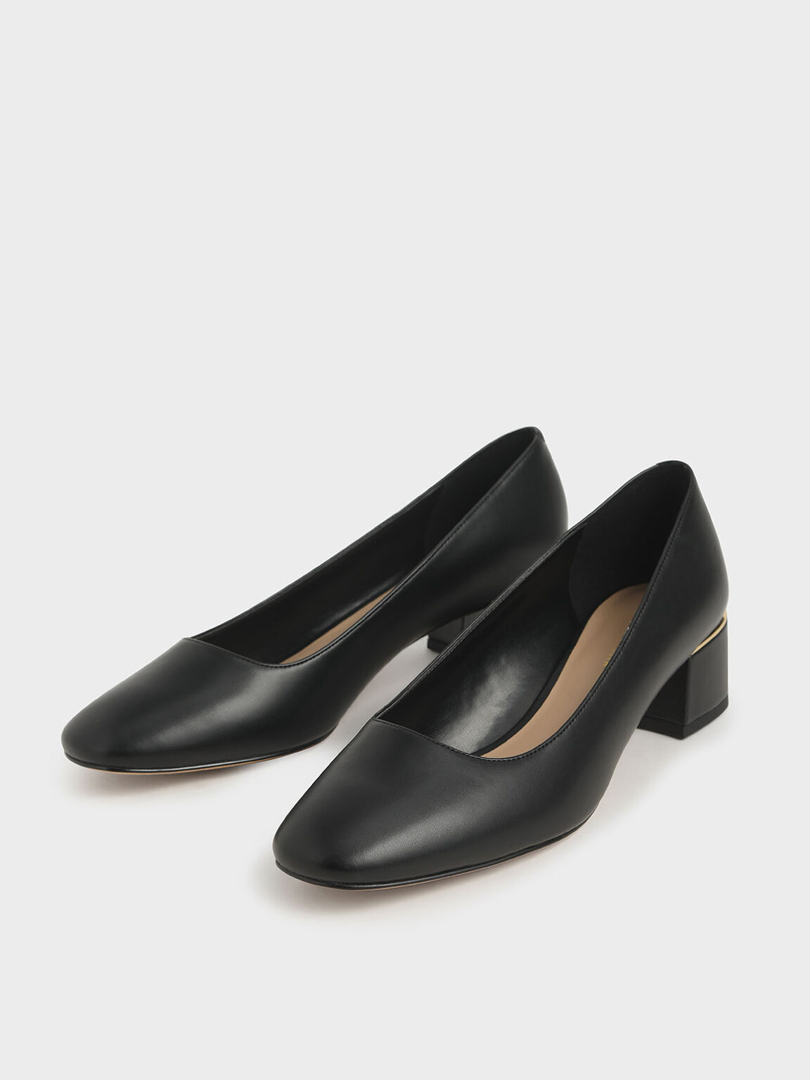 Square Toe Block Heel Pumps, Black, hi-res
