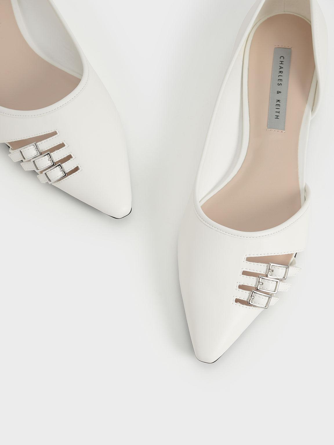 Half D'Orsay Cut-Out Ballerinas, White, hi-res