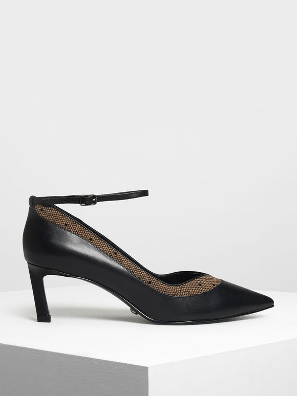 Contrast Panelling Leather Pumps, Multi, hi-res
