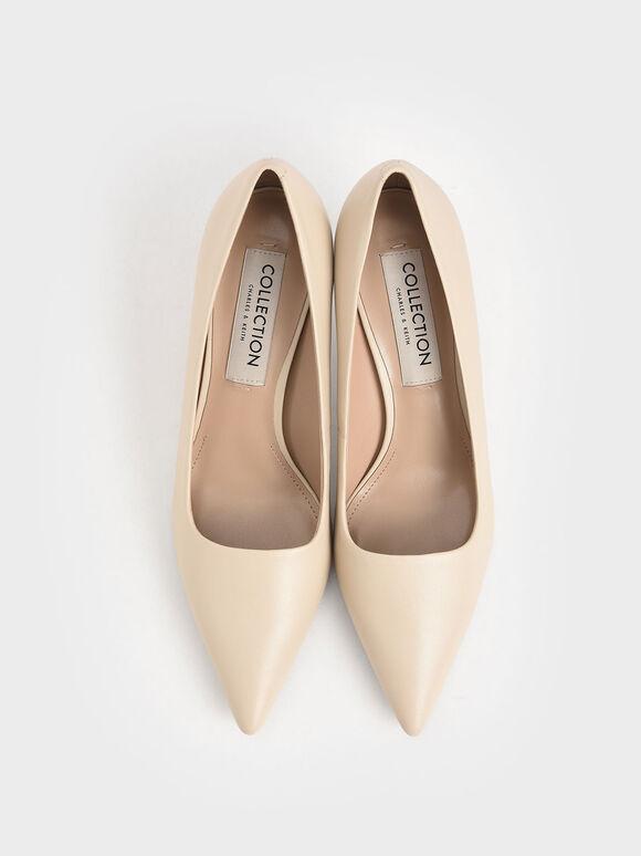 Leather Kitten Heel Court Shoes, Chalk, hi-res