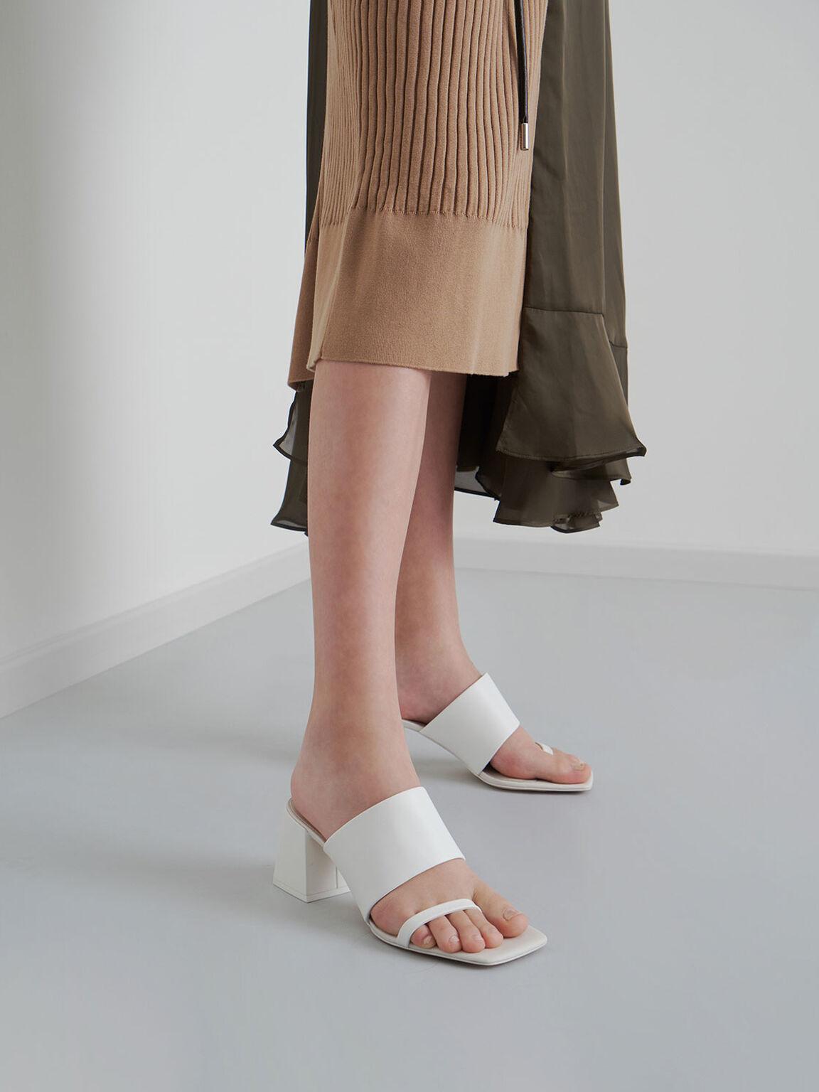 寬帶夾腳拖鞋, 白色, hi-res
