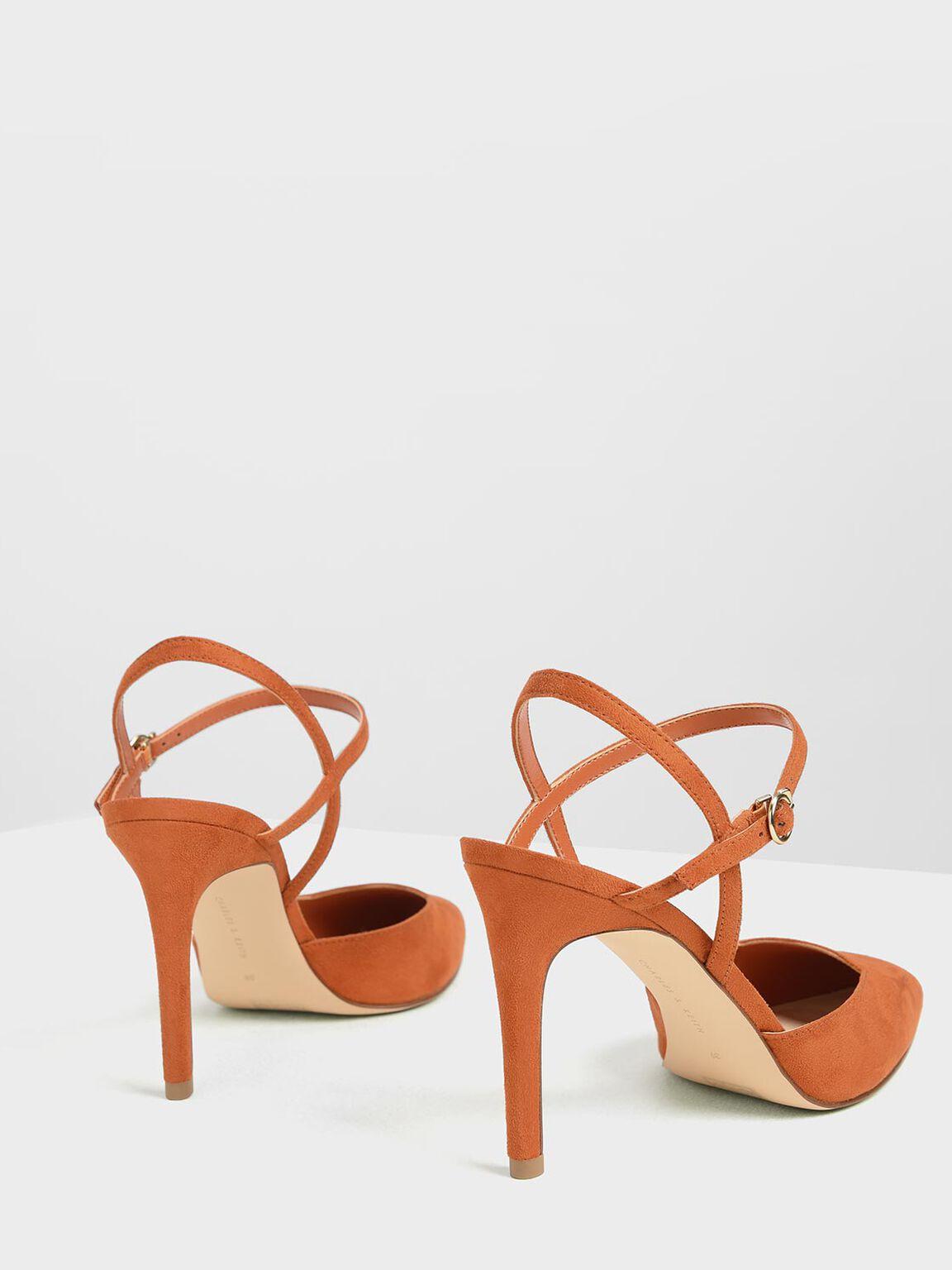 Ankle Strap Covered Heels, Orange, hi-res