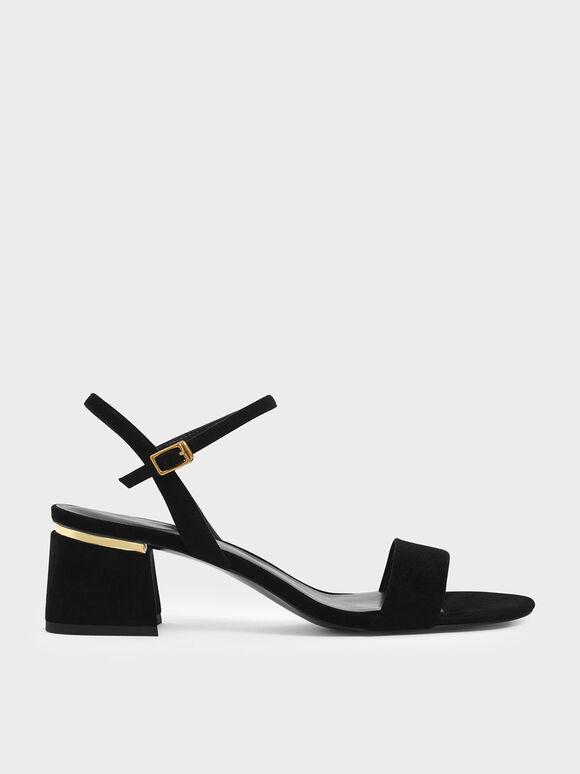Open Toe Ankle Strap Block Heel Sandals, Black Textured, hi-res