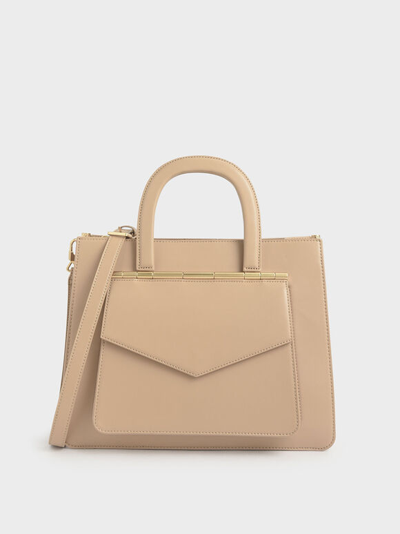 Structured Tote Bag, Beige, hi-res
