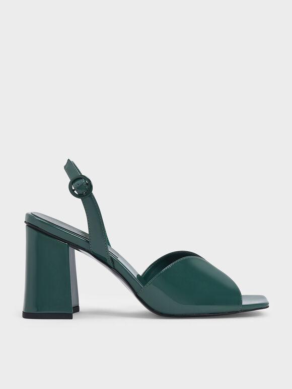 Patent Open Toe Slingback Block Heel Sandals, Green, hi-res