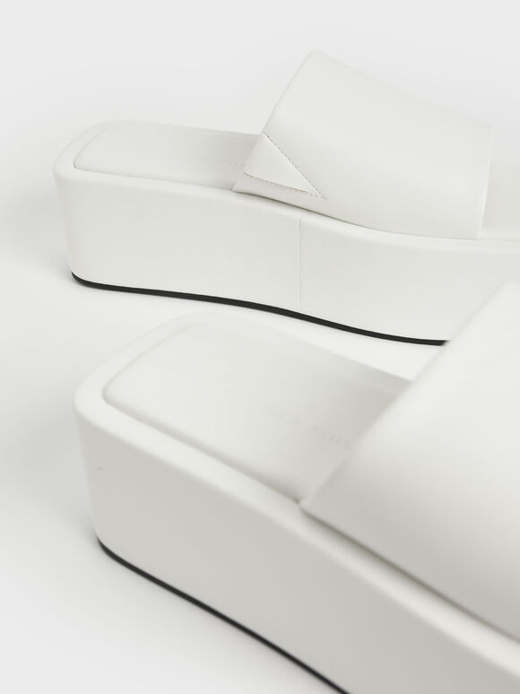 Square Toe Flatforms, White, hi-res