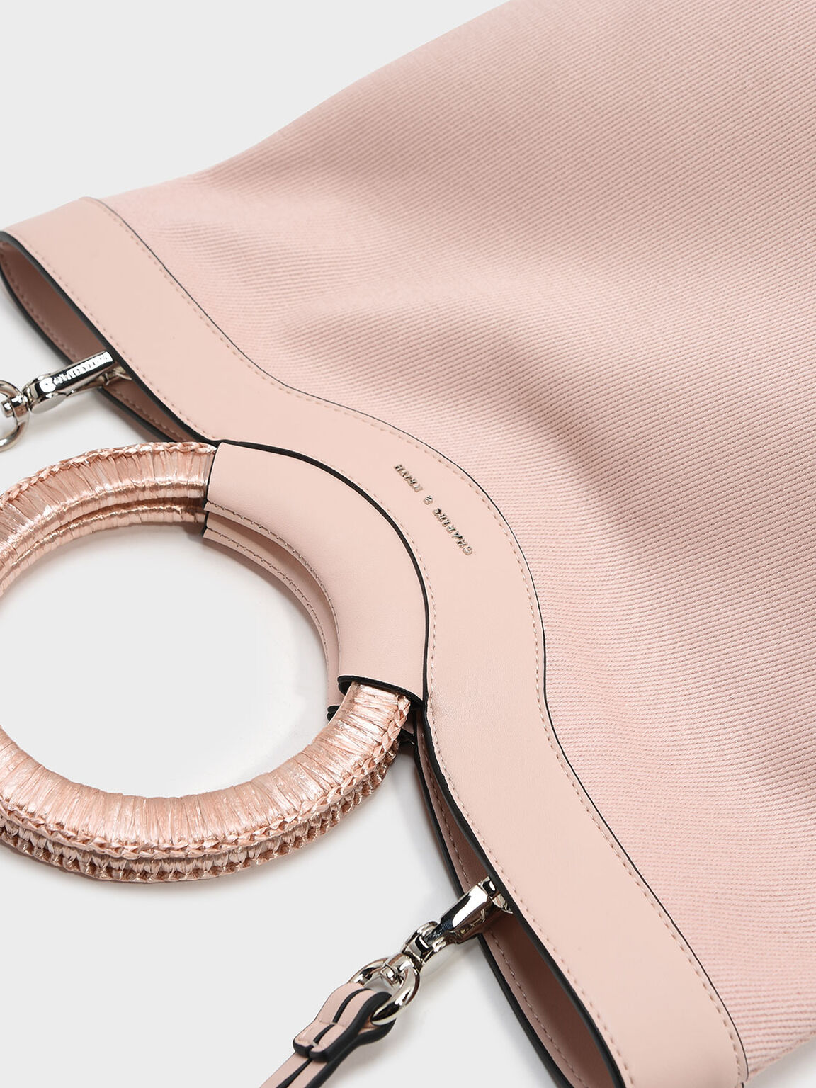 Circular Handle Tote, Pink, hi-res