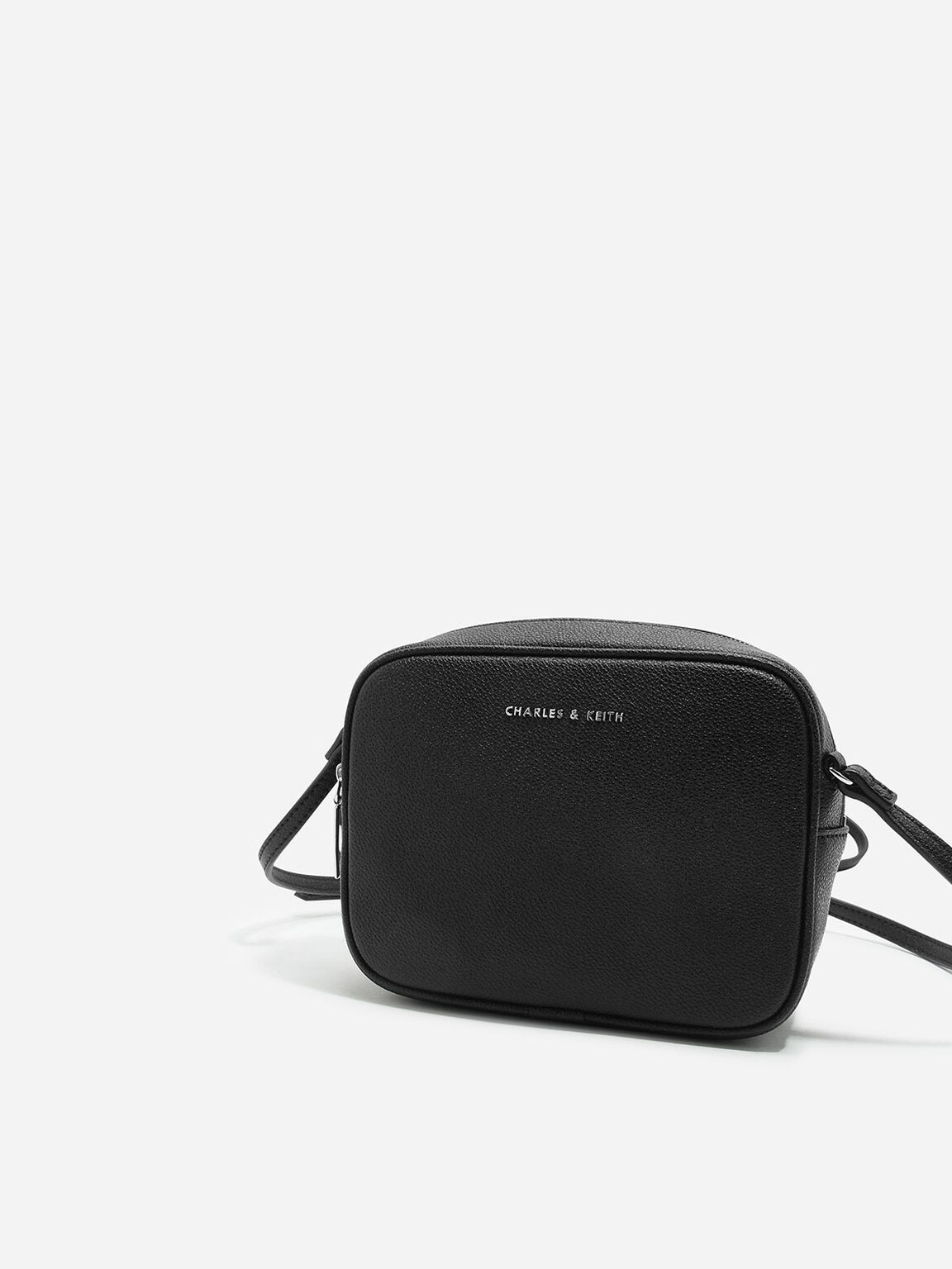Curved Boxy Sling Bag, Black, hi-res