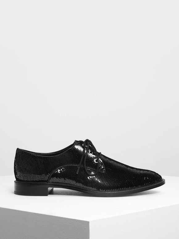 Sequin Derby Shoes, Black, hi-res