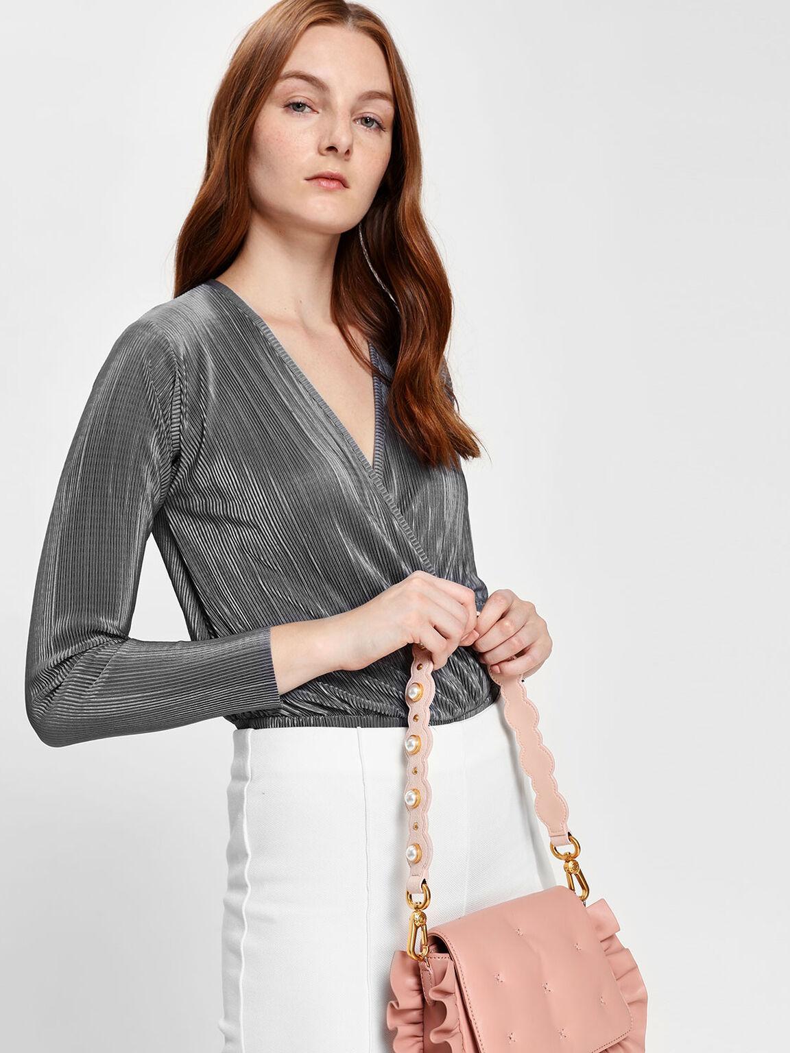 Pearl Embellishment Short Bag Strap, Pink, hi-res