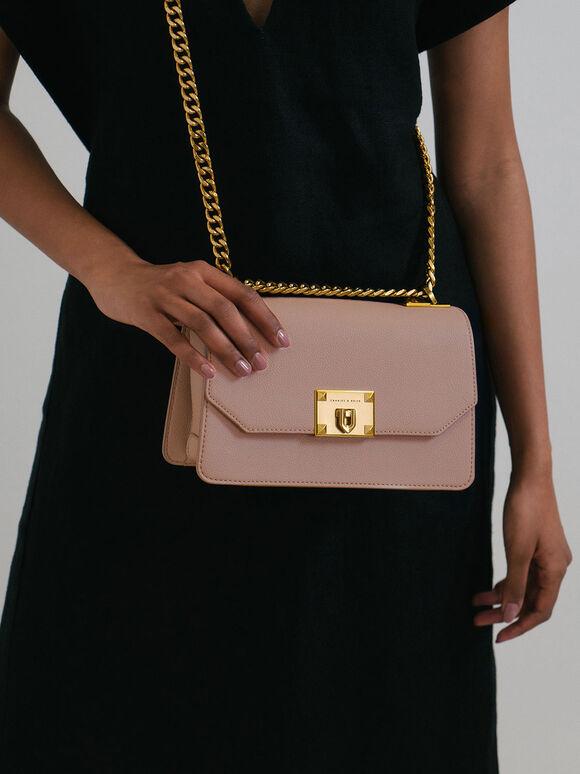 Metallic Push-Lock Crossbody Bag, Pink, hi-res