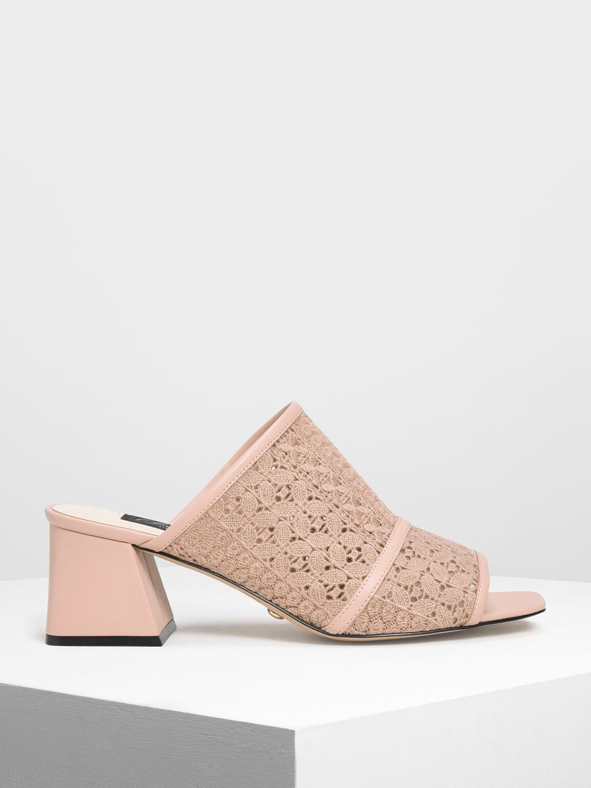 Crochet Block Heel Slide Sandals, Nude, hi-res
