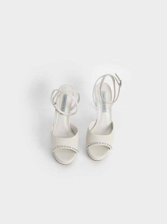 寶石繞踝高跟涼鞋, 石灰白, hi-res
