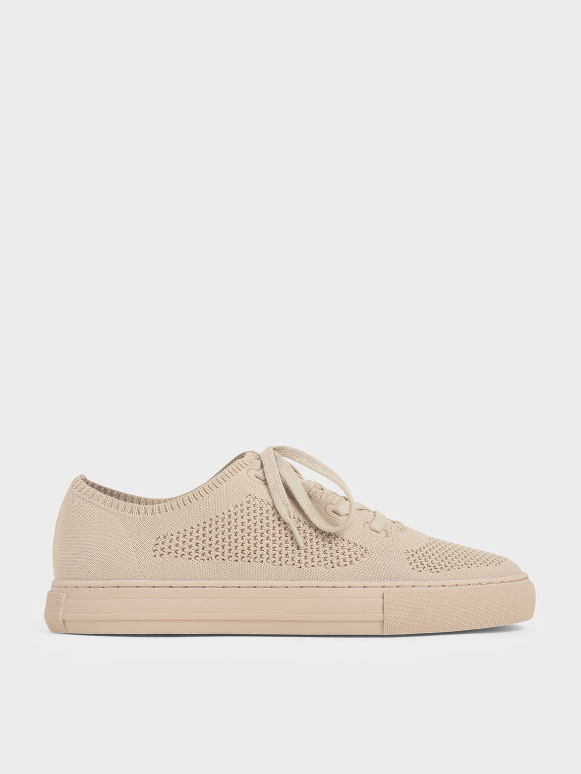 Knitted Lace-Up Sneakers, Nude, hi-res