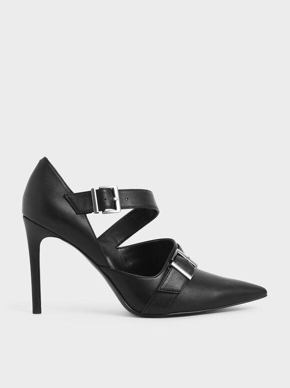 Strappy D'Orsay Stiletto Pumps, Black, hi-res