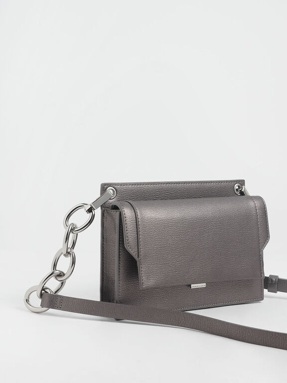Eyelet Embossed Push Lock Clutch, Pewter