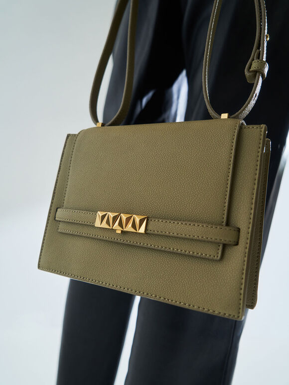 Metallic Push-Lock Crossbody Bag, Khaki, hi-res