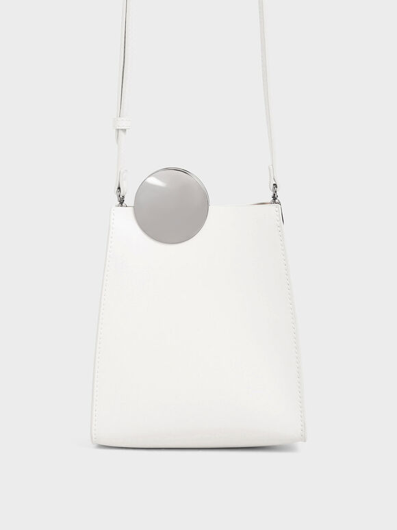 Chrome Detail Leather Crossbody Bag, White, hi-res