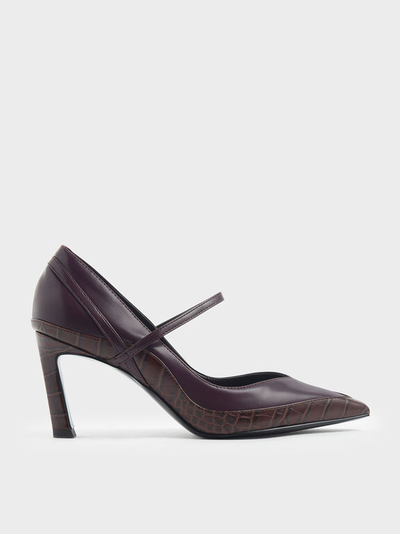 Croc-Effect Pointed Toe Mary Jane Sculptural Heels, Burgundy