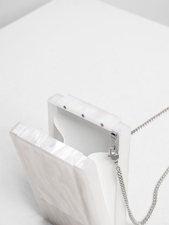 Resin Front Flap Clutch, White
