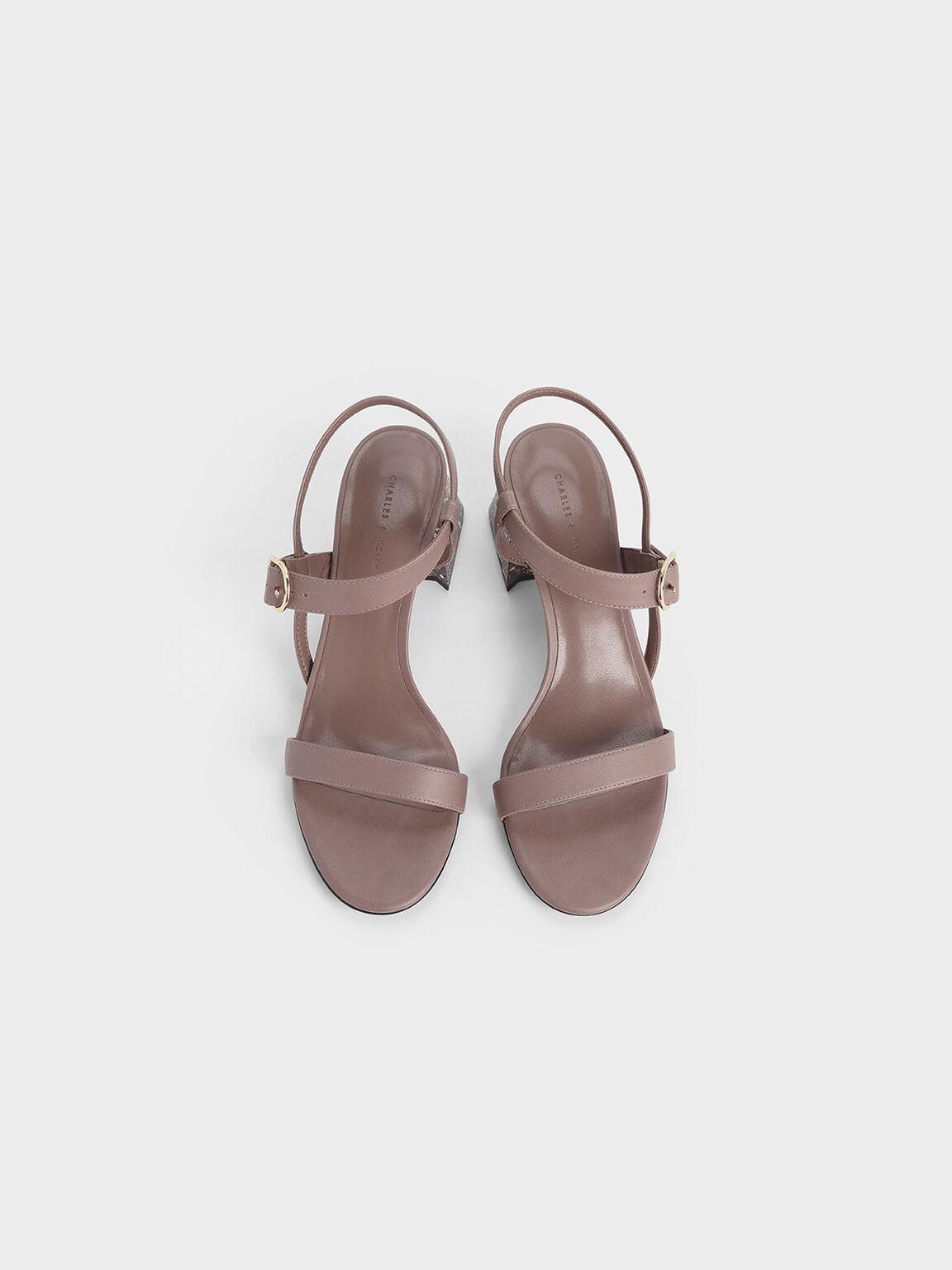 Terrazzo Print Flare Block Heel Sandals, Pink, hi-res