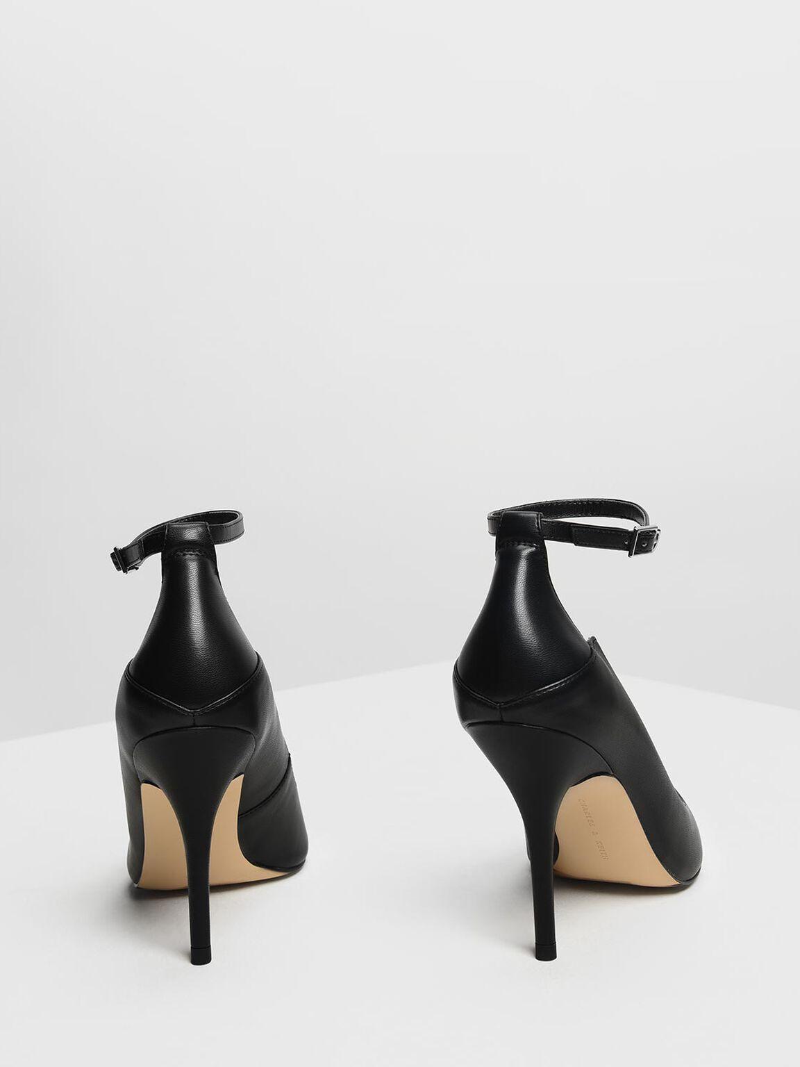Ankle Strap Pointed Pumps, Black, hi-res