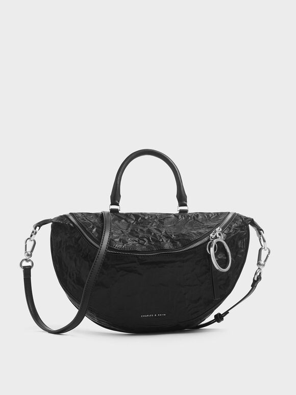 Wrinkled Effect Large Semi-Circle Crossbody Bag, Black, hi-res