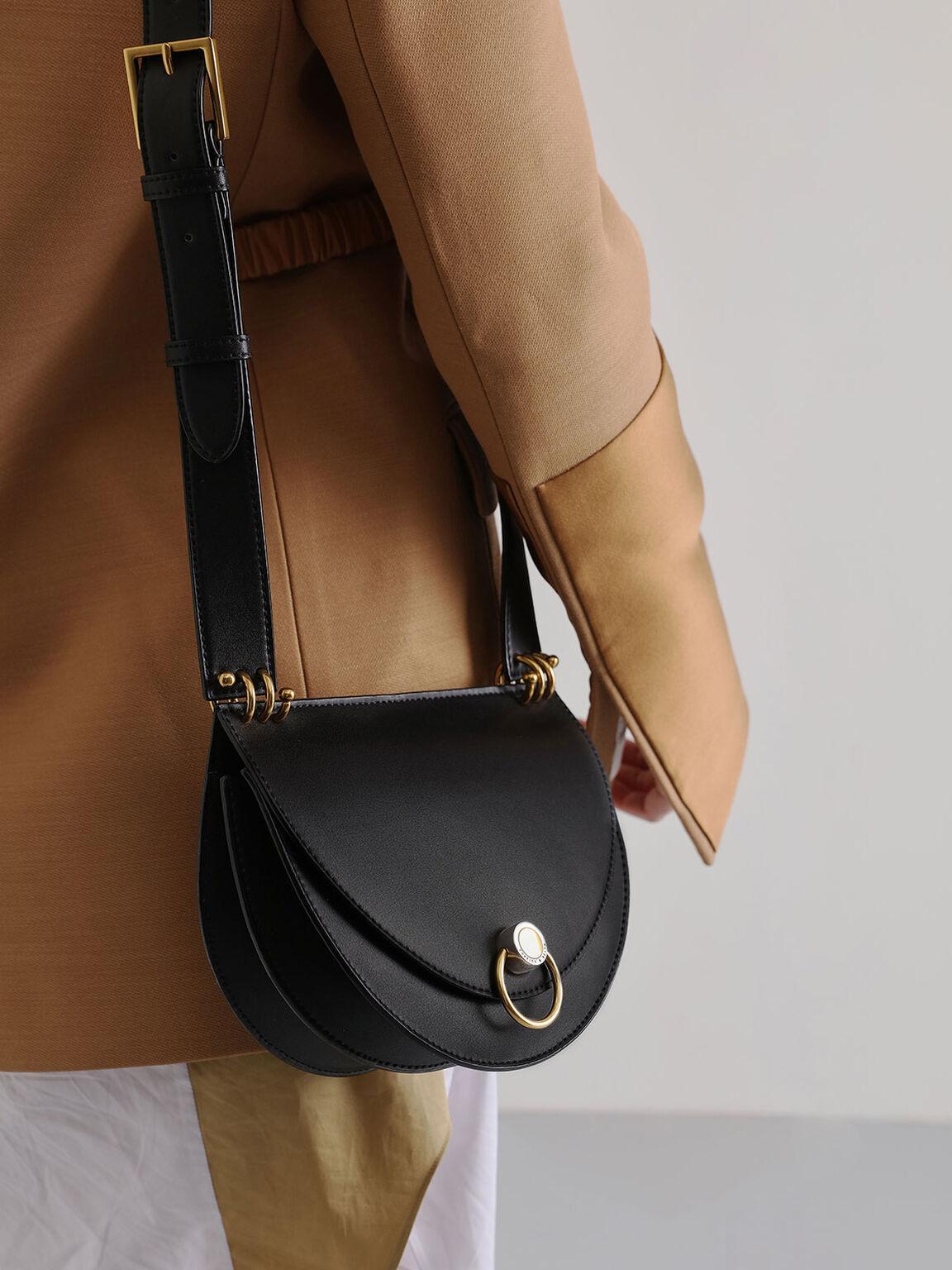Ring Push-Lock Saddle Bag, Black, hi-res