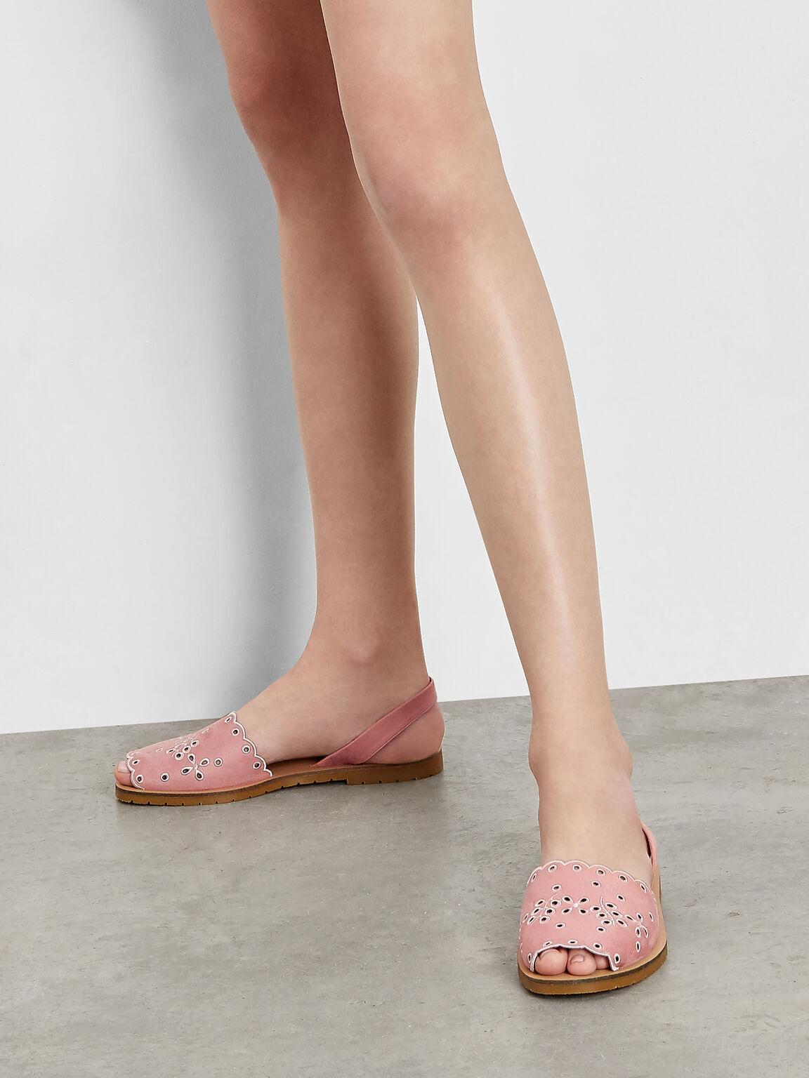Scalloped Floral Slingback Flats, Pink, hi-res