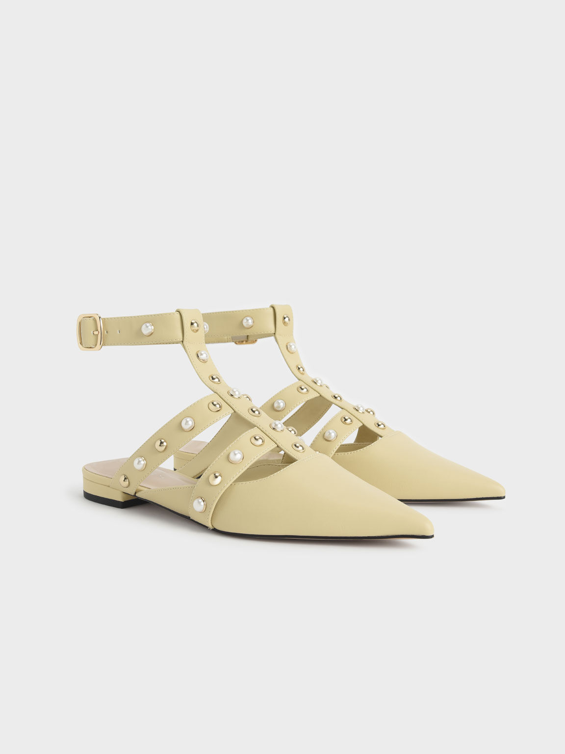 Caged Embellished Ankle Strap Ballerinas, Yellow, hi-res