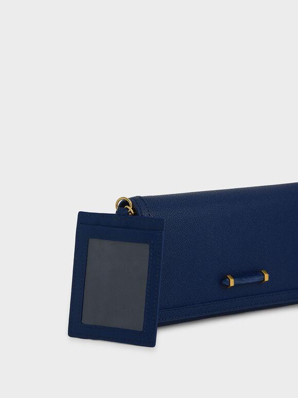 Stone-Embellished Front Flap Long Wallet, Dark Blue, hi-res