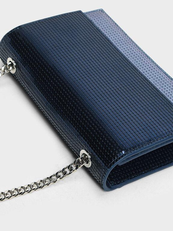 Sequin Evening Bag, Dark Blue