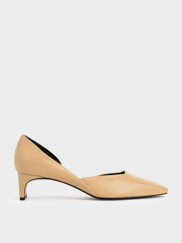 Square Toe D'Orsay Pumps, Beige, hi-res