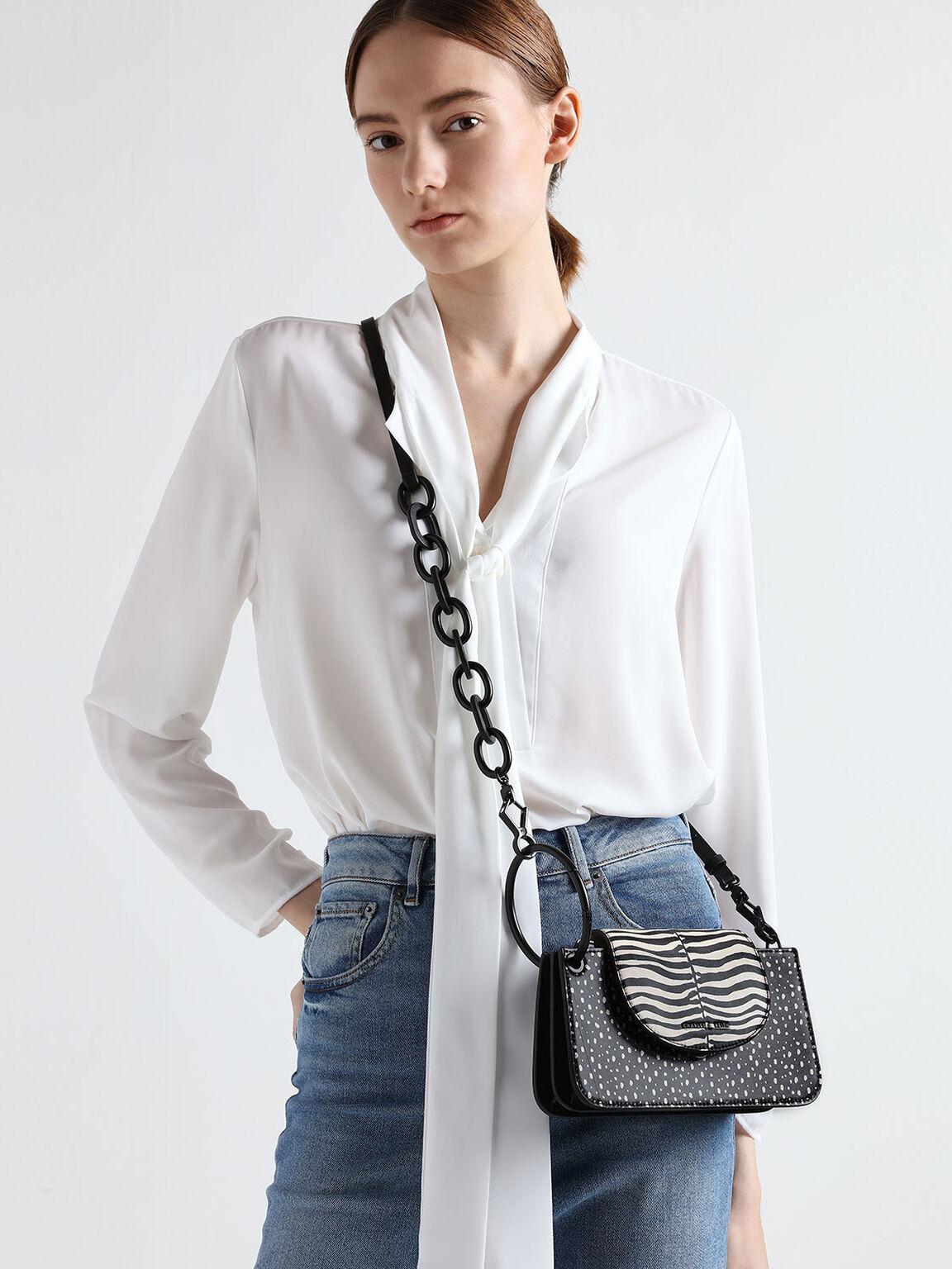 Zebra Print Ring Handle Mini Front Flap Wallet, Multi, hi-res