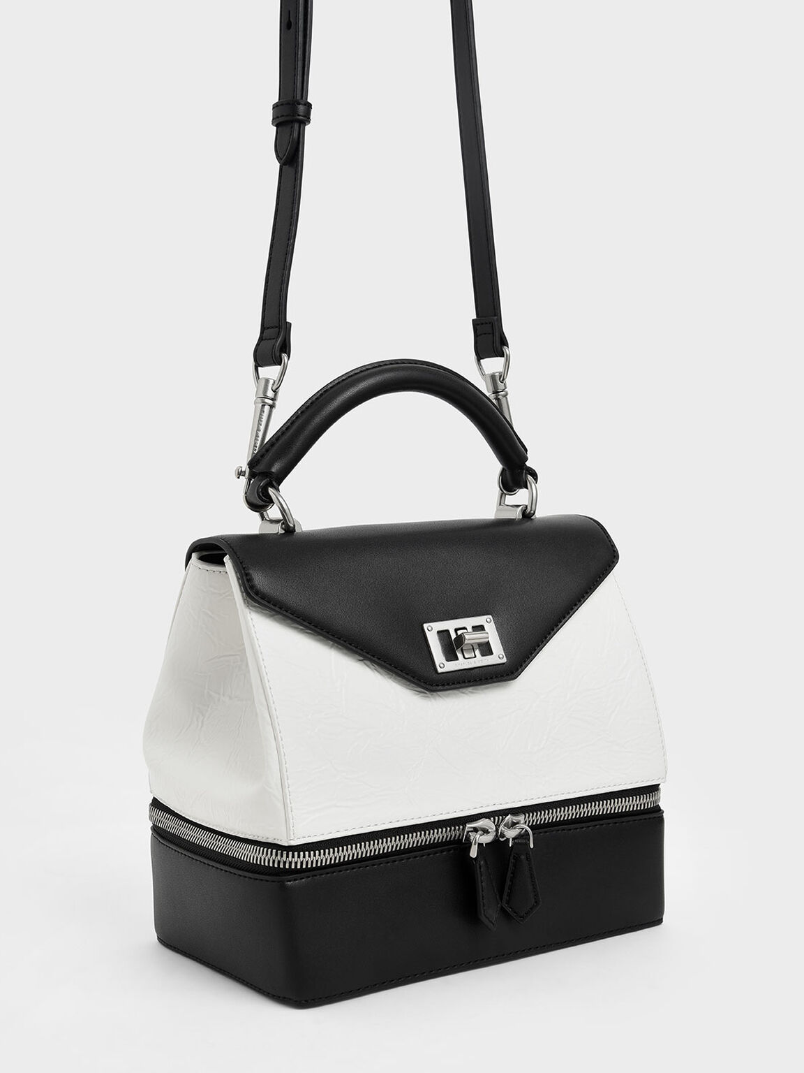 Wrinkled Effect Two-Way Zip Top Handle Bag, White, hi-res