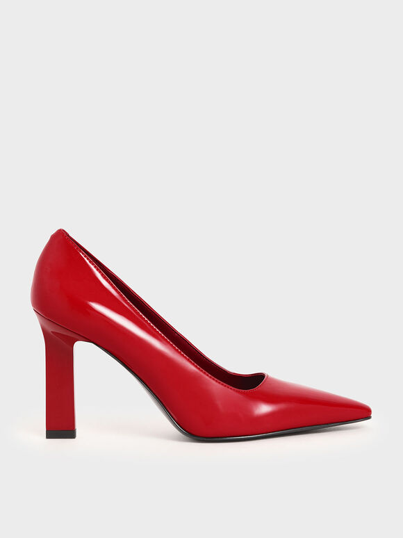 Patent Blade Heel Pumps, Red, hi-res