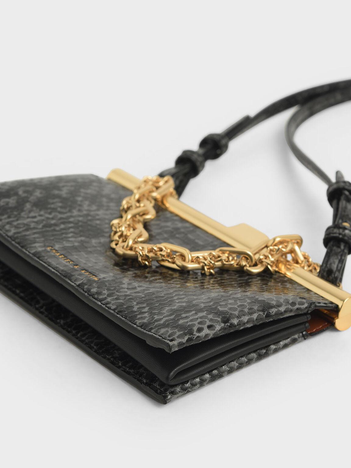 Boxy Snake Print Chunky Chain Clutch, Black, hi-res