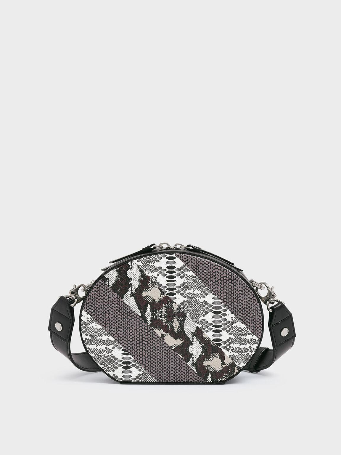 Snake Print Oval Crossbody Bag, Multi, hi-res